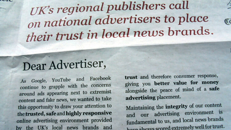 Publishers' ad for 'local news brands' from the i, April 3, 2017