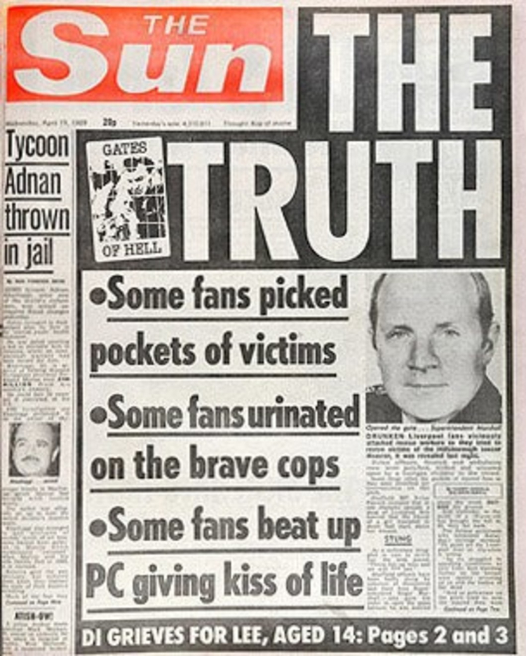 Infamous The Truth front page of The Sun published when now suspended Kelvin MacKenzie was still editor of the paper.