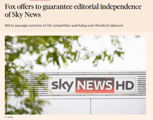 Fox offers to guarantee editorial independence of Sky News