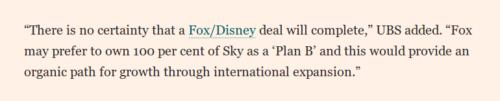 USB quote in FT re Fox Disney